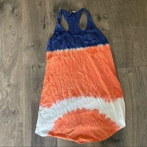 Roxy Orange and Blue Tie Dye Swim Coverup Medium
